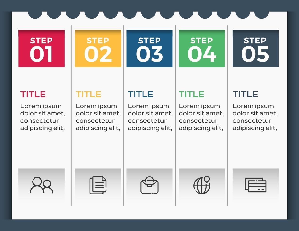 modèle de conception d'étiquette infographie vectorielle avec icônes et 5 options ou étapes vecteur
