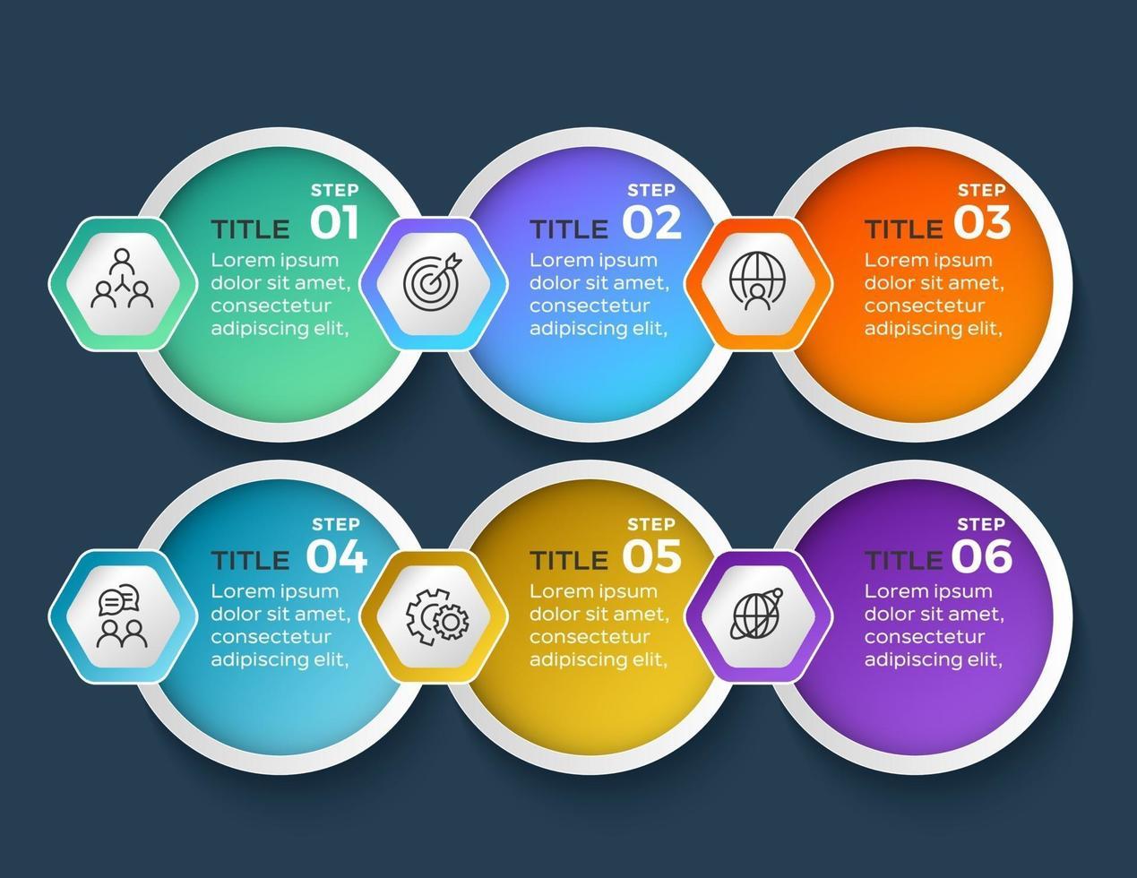 infographie de l'entreprise. chronologie avec 6 étapes ou options vecteur