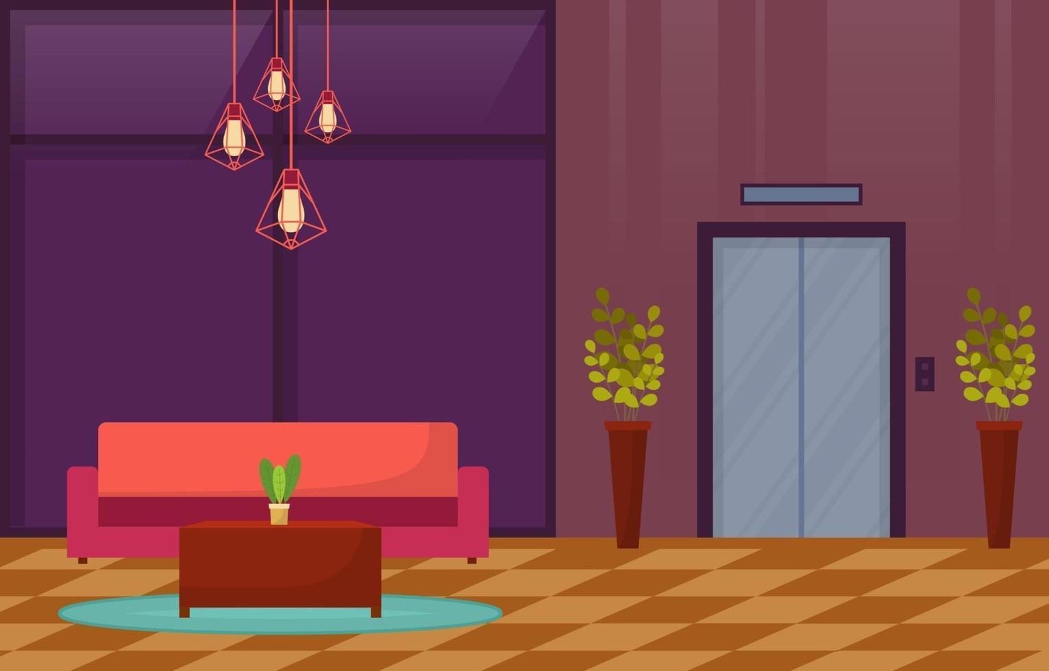 hall de l'hôtel moderne avec illustration de meubles vecteur