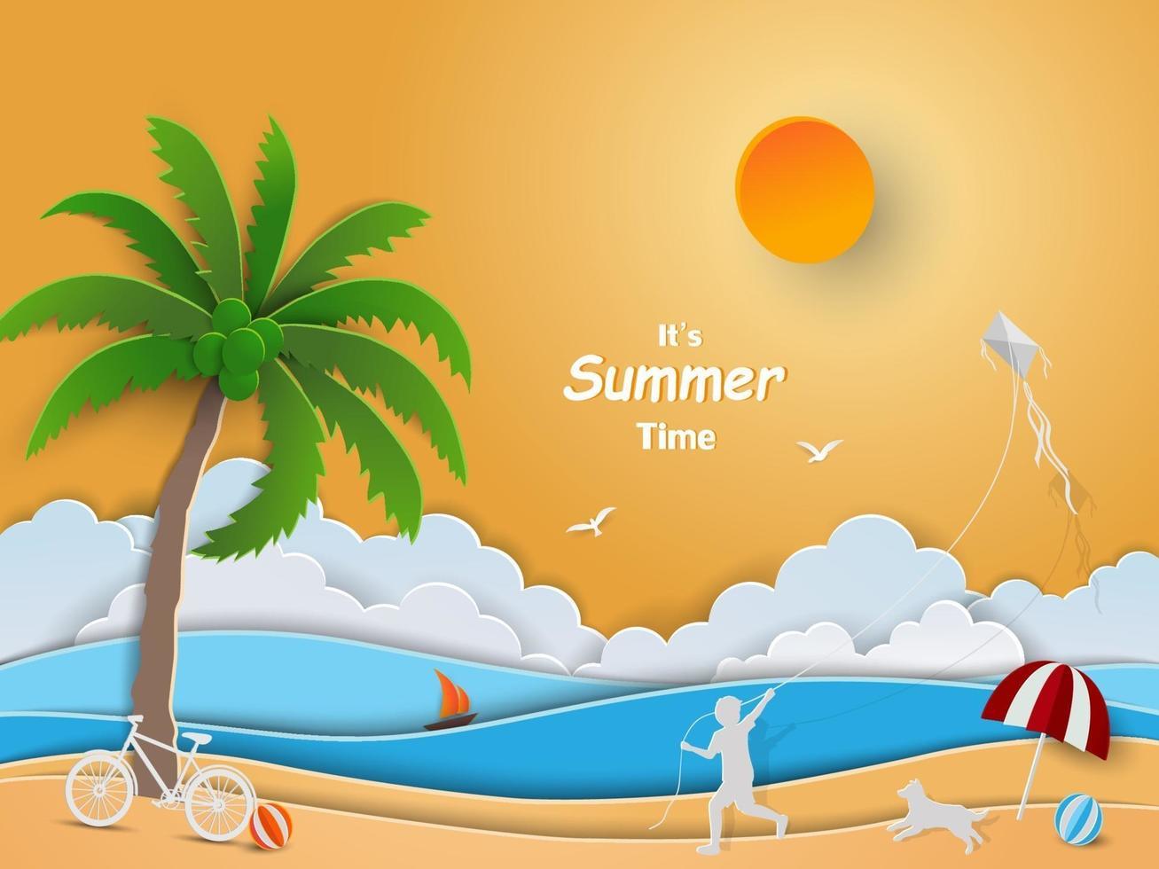 conception d'art papier avec le concept de l'heure d'été, enfant heureux jouant avec cerf-volant sur la plage vecteur