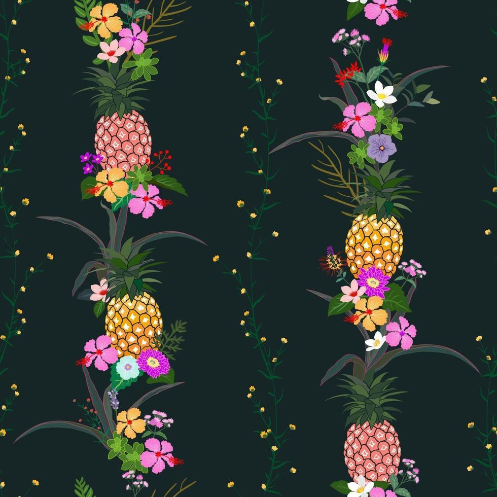 ananas avec des fleurs tropicales colorées et feuilles modèle sans couture sur fond de nuit d'été sombre vecteur