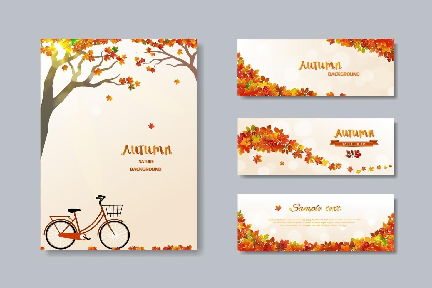 collection de bannière de vente automne nature avec des feuilles colorées vecteur