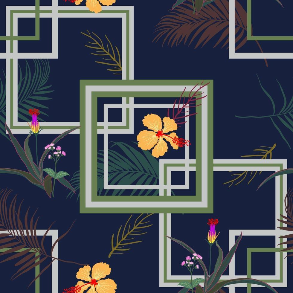 motif sans soudure géométrique avec des fleurs tropicales et des feuilles sur fond bleu marine vecteur