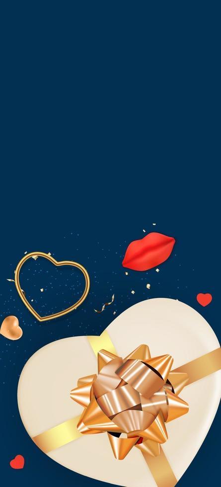 espace de copie vertical fond bleu saint valentin vecteur