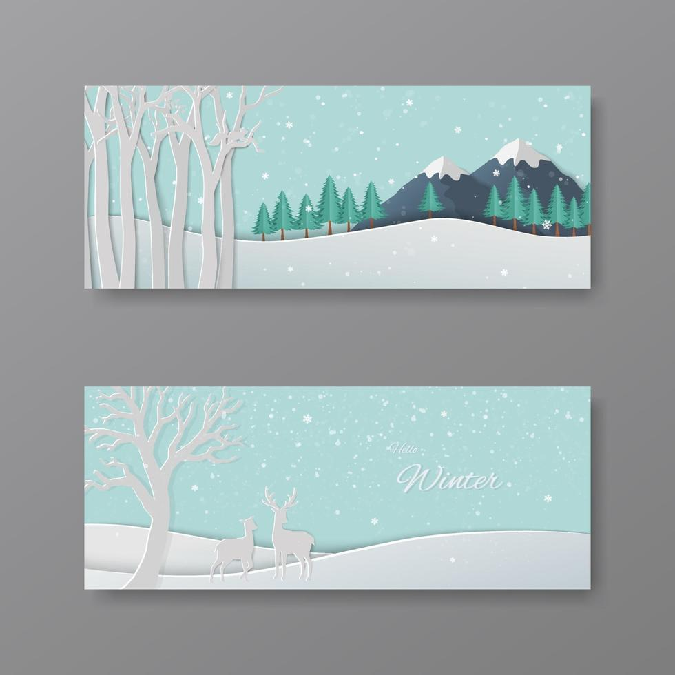 Ensemble de scènes d'hiver, cerf art papier dans la forêt avec des flocons de neige sur fond bleu pastel vecteur