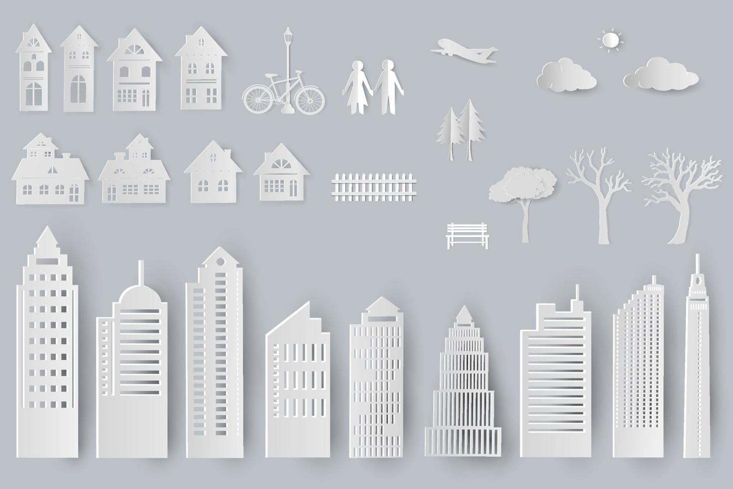 ensemble de bâtiments, maisons, arbres objets isolés pour la conception en style papier découpé vecteur