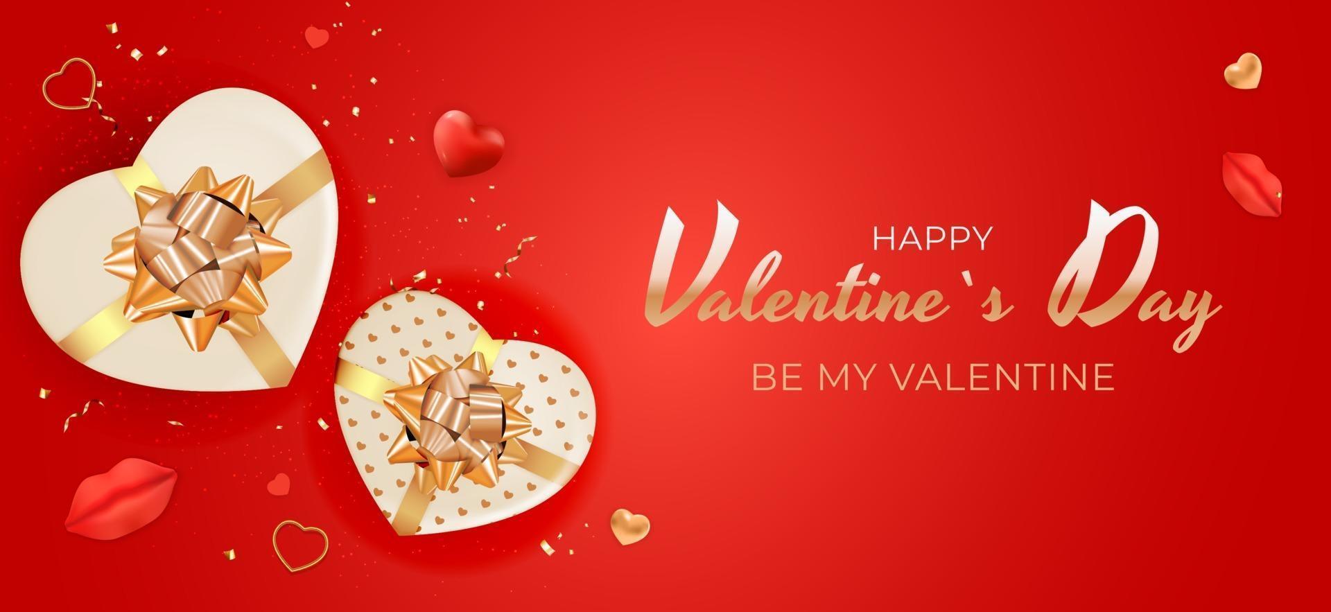fond rouge saint valentin avec boîte-cadeau en forme de coeur vecteur