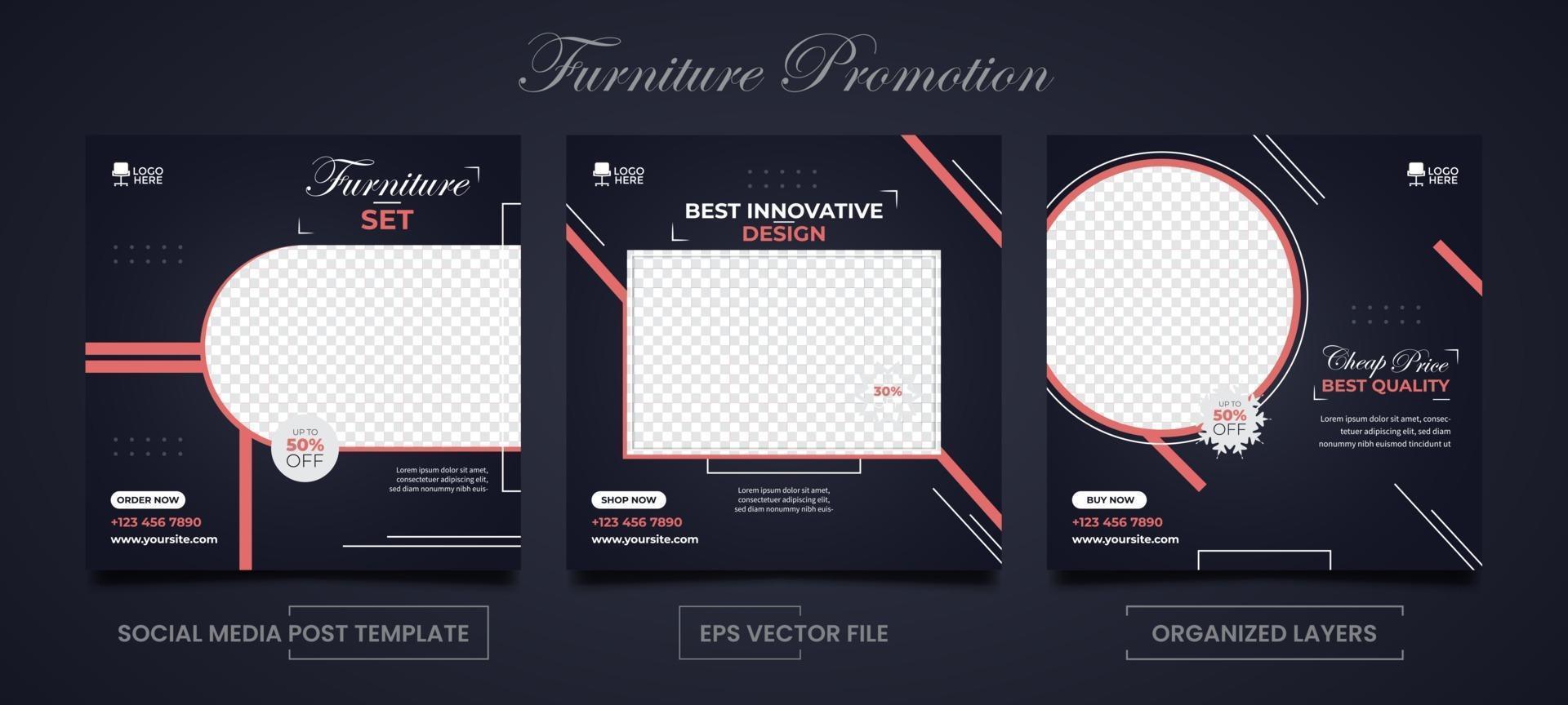 modèles carrés de vente de meubles pour ensemble de publicité sur les médias sociaux vecteur