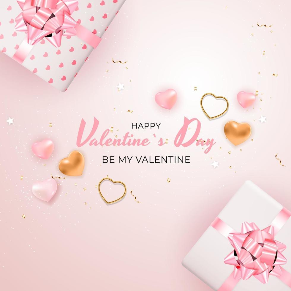 bannière carrée de la saint-valentin sur fond rose vecteur