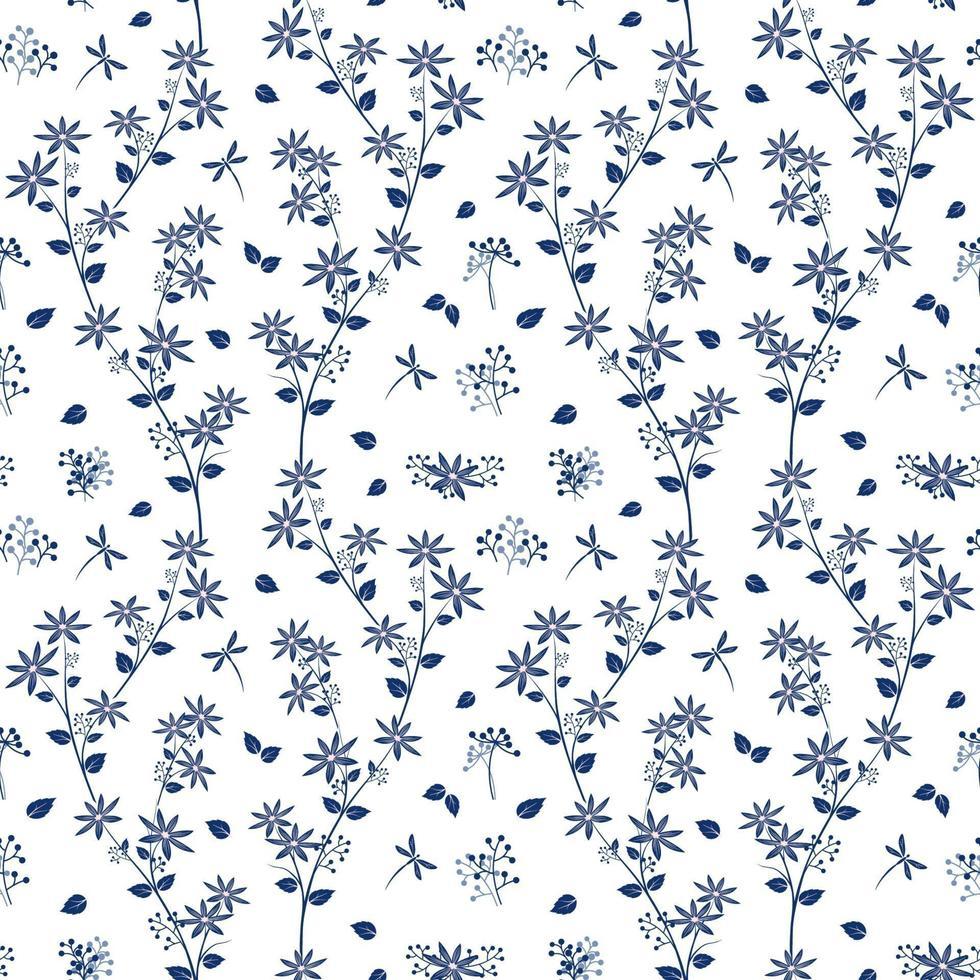 fleurs d'ombre bleue sur modèle sans couture de jardin blanc vecteur