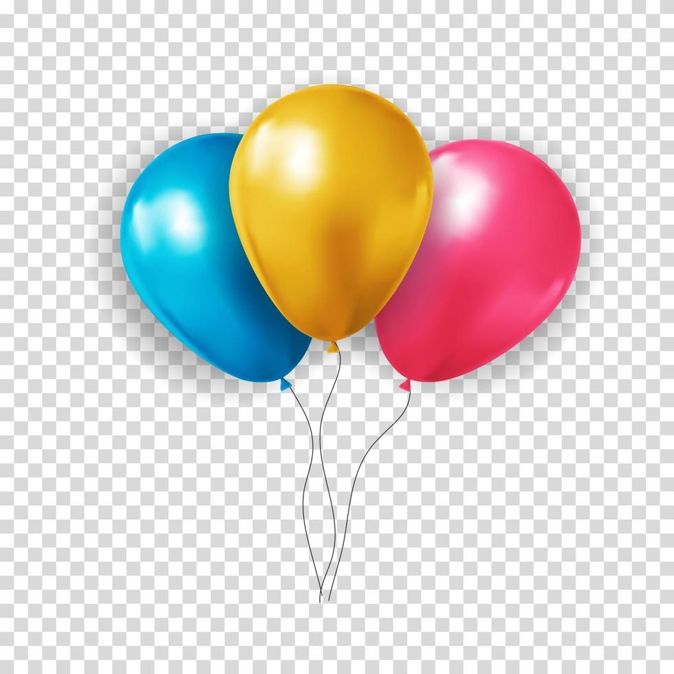 collection de ballons 3d réalistes pour fête, vacances. illustration vectorielle vecteur
