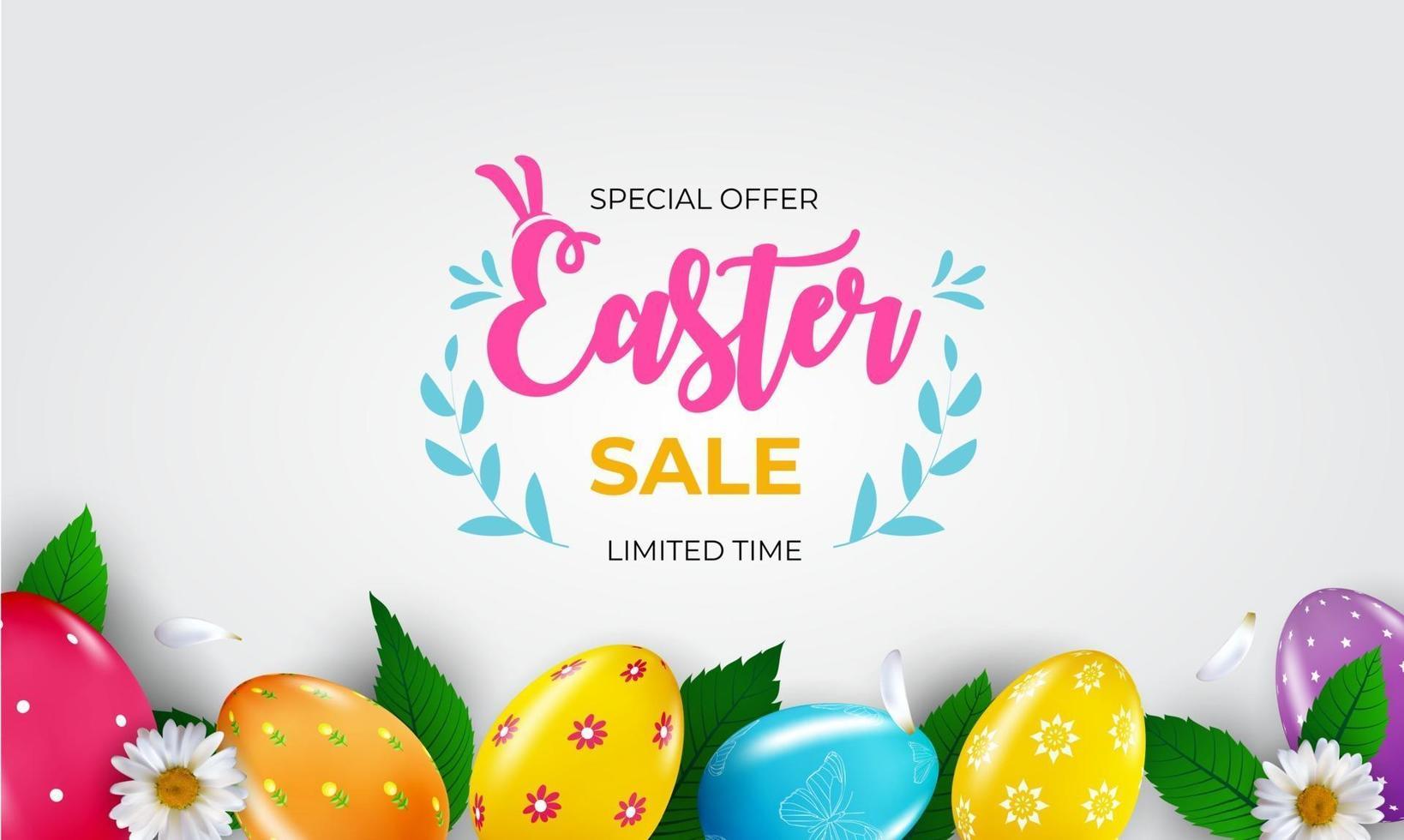 modèle d'affiche de vente de Pâques avec des oeufs de Pâques réalistes 3d et de la peinture. modèle pour la publicité, affiche, flyer, carte de voeux. illustration vectorielle vecteur