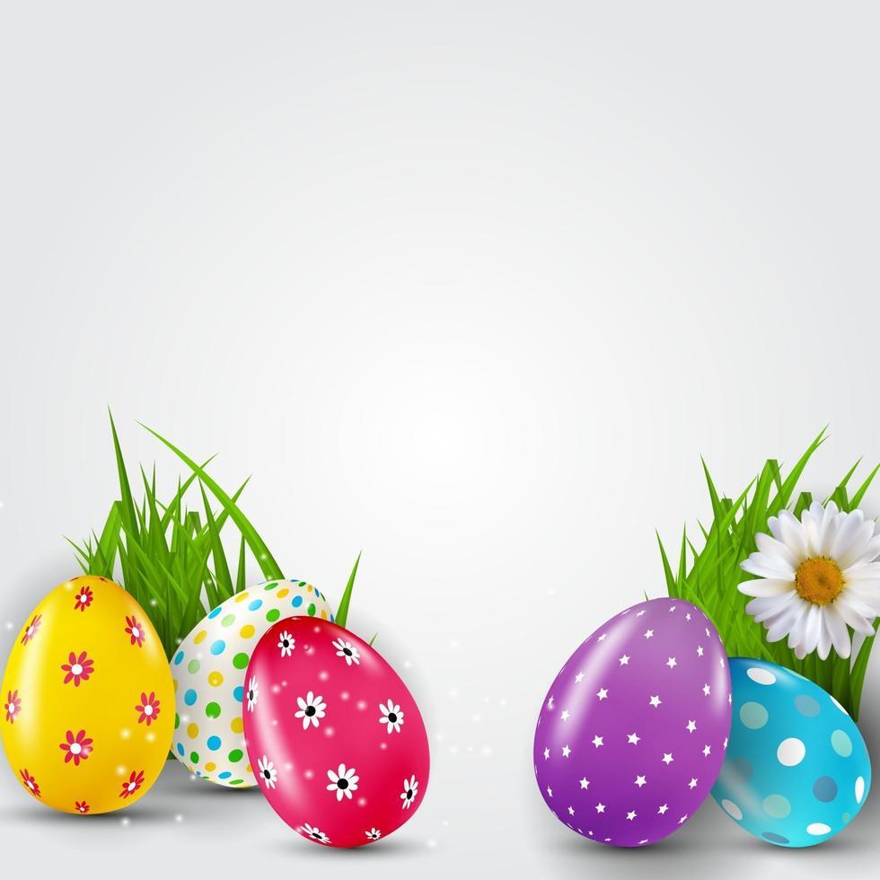modèle d'affiche de Pâques avec des oeufs de Pâques réalistes 3d et de la peinture. modèle pour la publicité, affiche, flyer, carte de voeux. illustration vectorielle vecteur