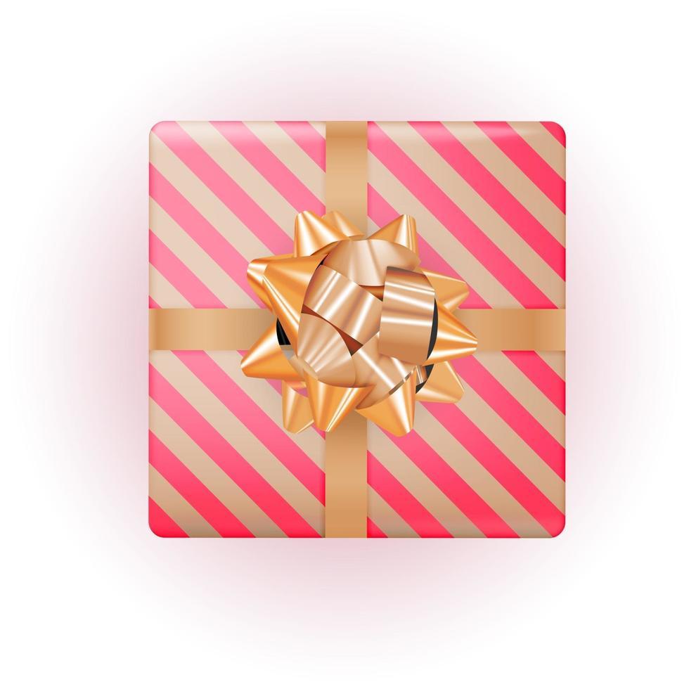 coffret cadeau avec noeud doré et ruban. illustration vectorielle vecteur