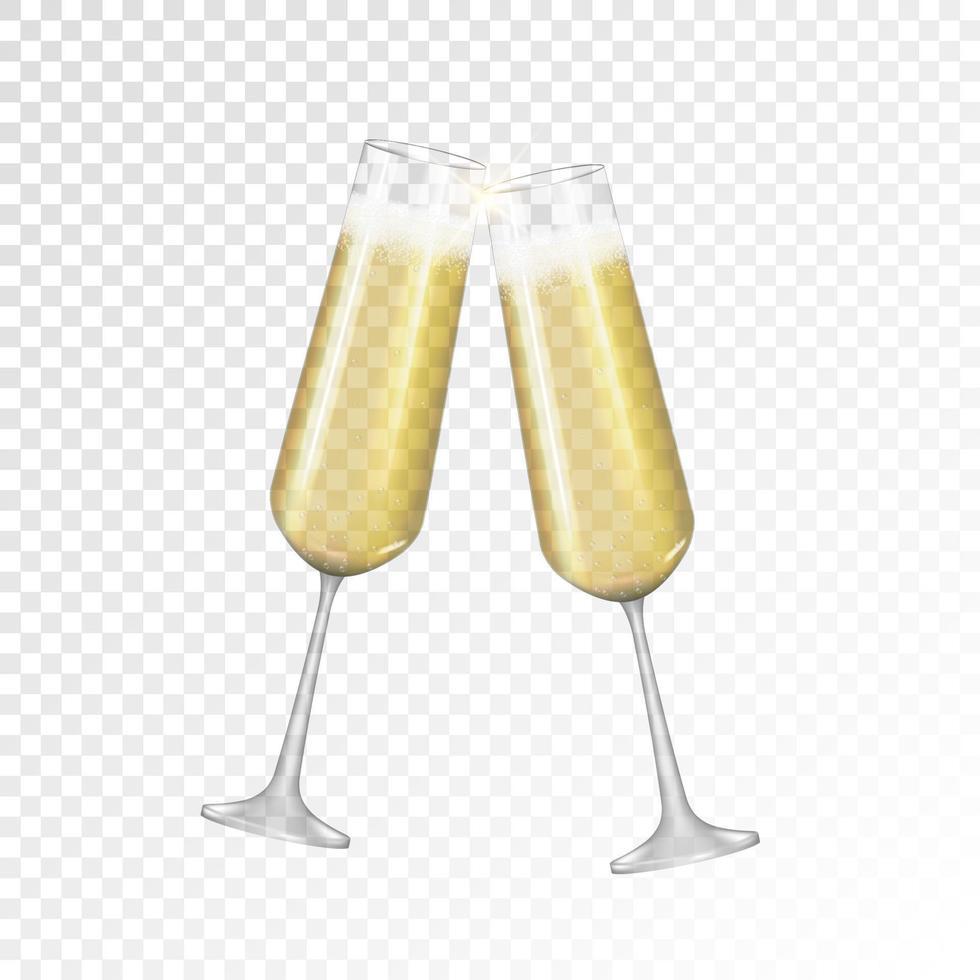 champagne en verre doré 3d réaliste isolé vecteur