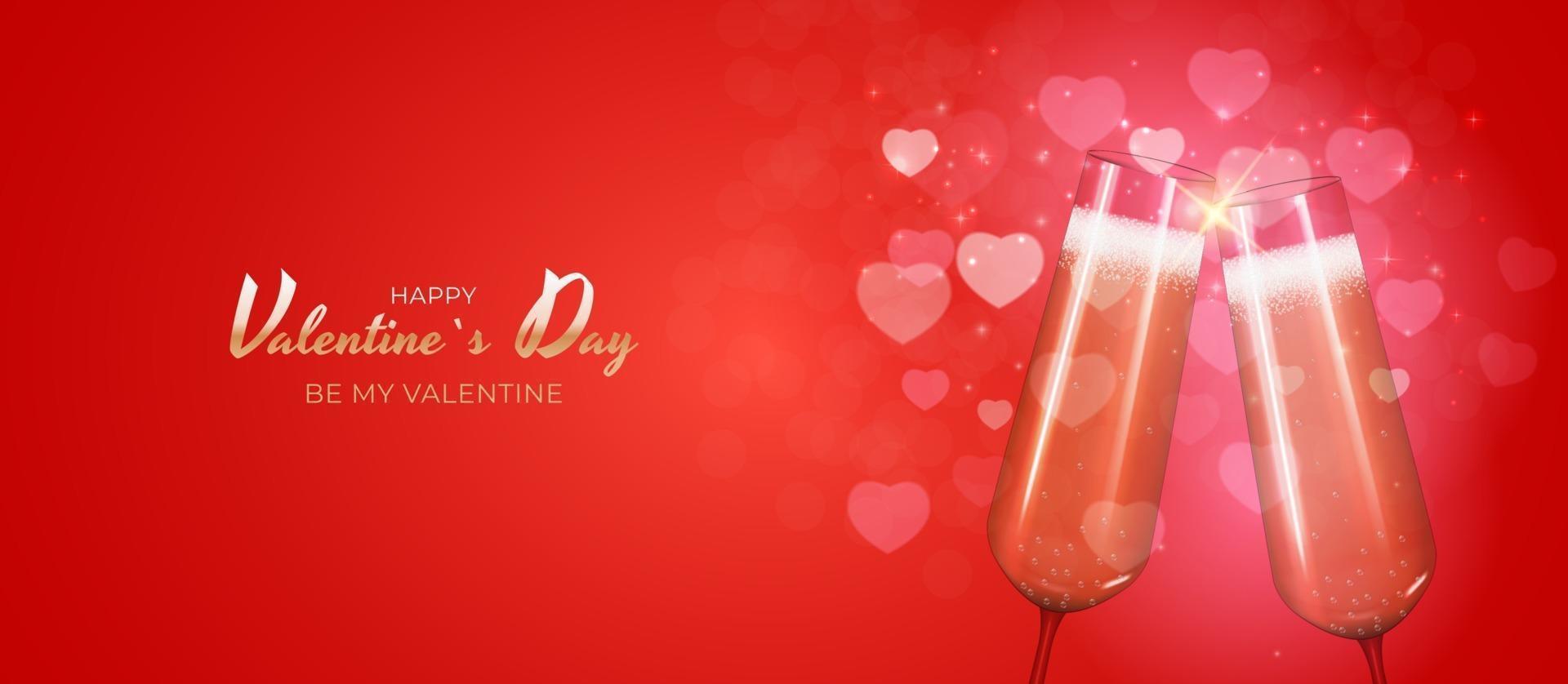 conception réaliste de fond de carte-cadeau de vacances de la Saint-Valentin. modèle pour la publicité, le Web, les médias sociaux et les annonces de mode. vecteur