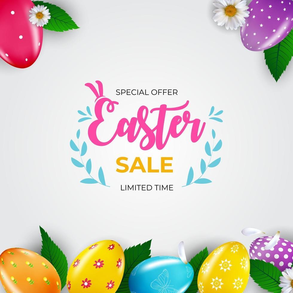 modèle d'affiche de vente de Pâques avec des oeufs de Pâques réalistes 3d. modèle pour la publicité, affiche, flyer, carte de voeux. illustration vectorielle. vecteur