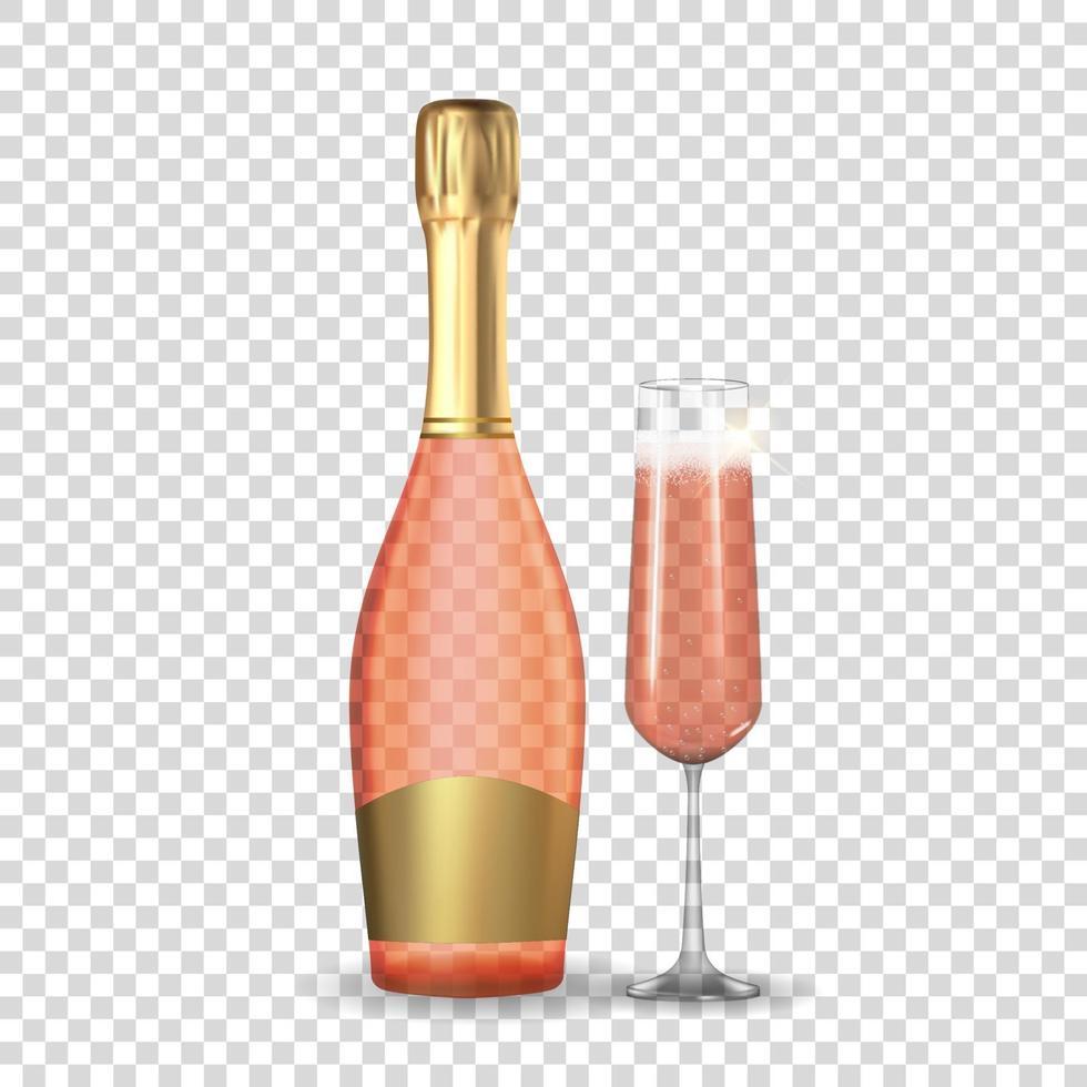 champagne rose rose 3d réaliste. icône de bouteille et verre dorée isolée. vecteur