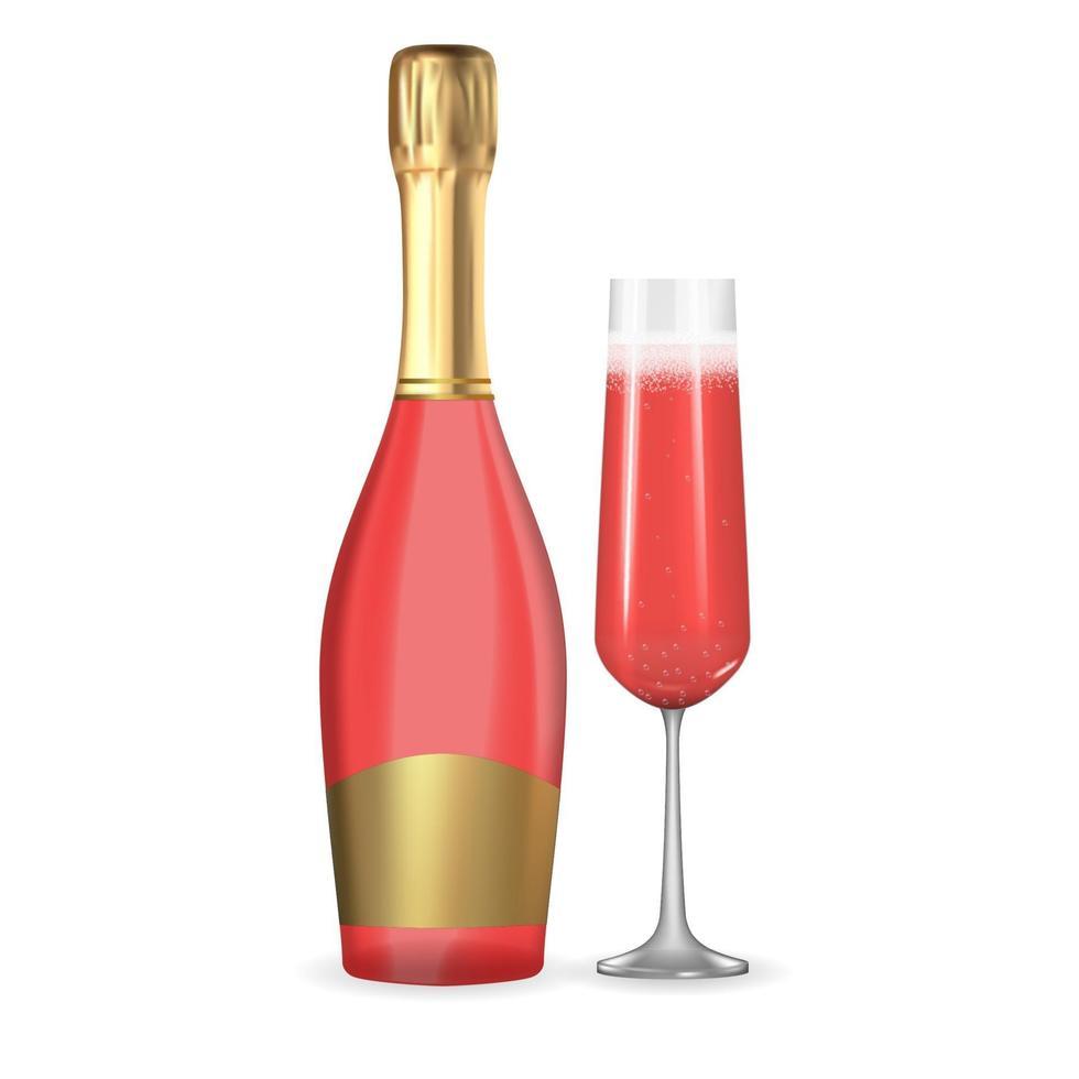 champagne rose rose 3d réaliste. icône de bouteille et verre isolé sur fond blanc. illustration vectorielle vecteur
