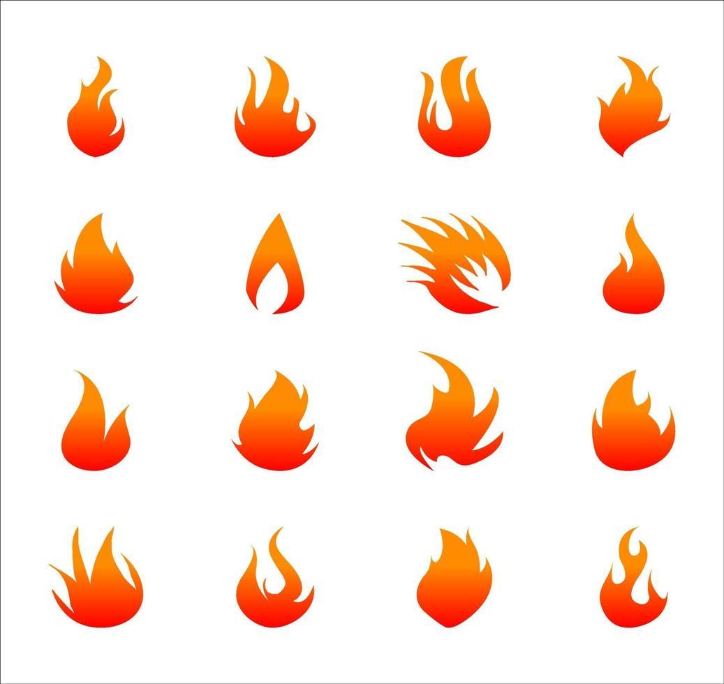 feu plat icônes pour le jeu de conception vecteur