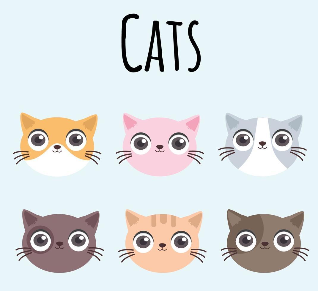 ensemble de têtes de chat mignon vecteur
