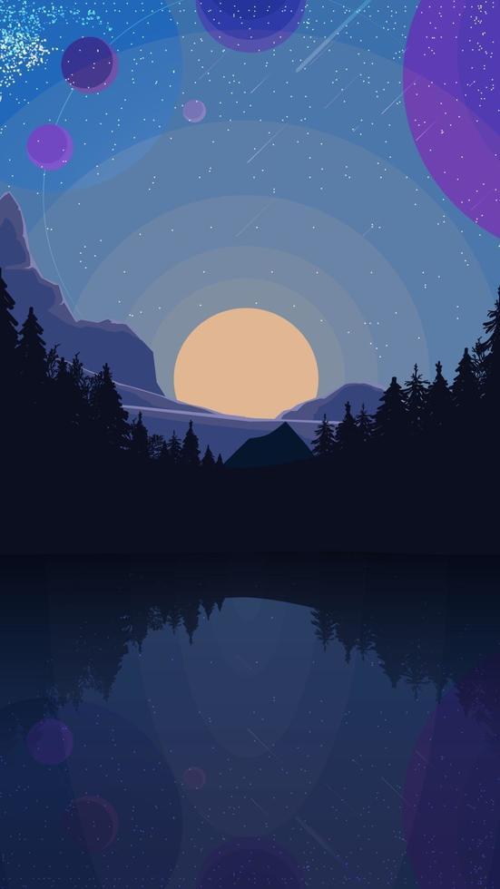 paysage avec ciel étoilé, planètes, forêt de pins et lac dans les montagnes. illustration vectorielle vecteur
