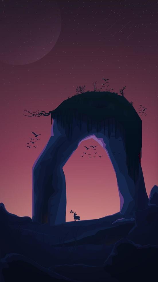 un énorme rocher en forme d'arc avec de l'herbe sur le dessus, des oiseaux, un coucher de soleil, un ciel étoilé. vecteur