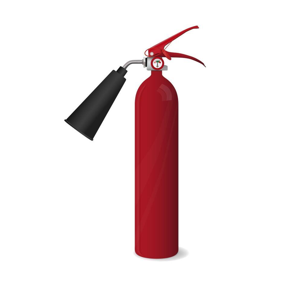 extincteur rouge grand dans un style réaliste isolé sur fond blanc vecteur