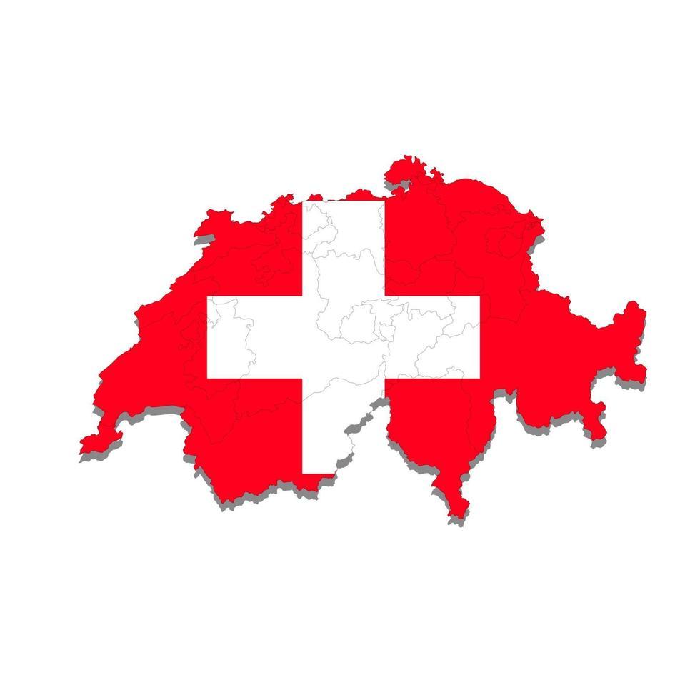 carte de la suisse avec les villes frontières du pays. illustration vectorielle vecteur