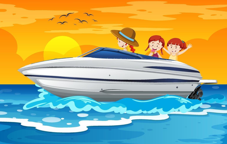 enfants debout sur un bateau rapide en scène de plage vecteur