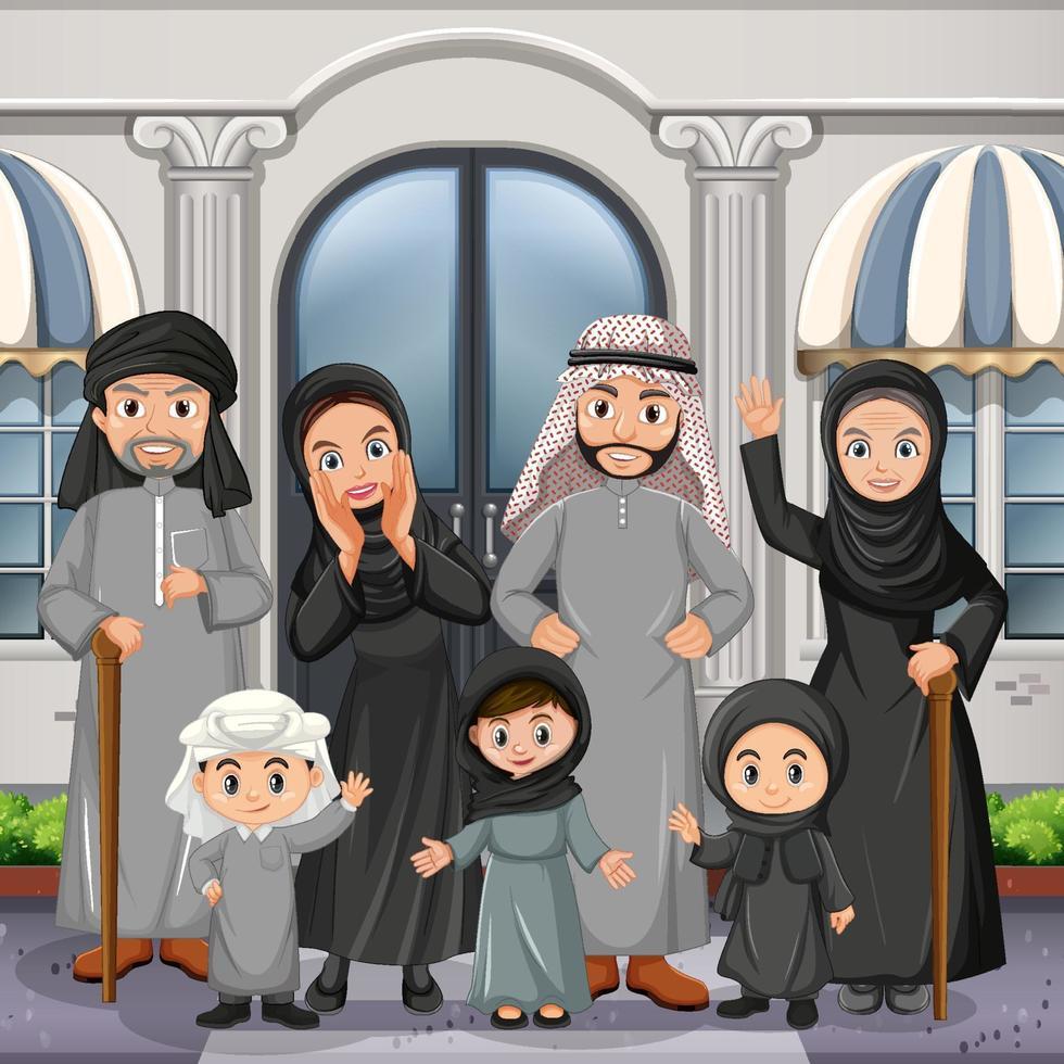 scène en plein air avec un membre de la famille arabe vecteur