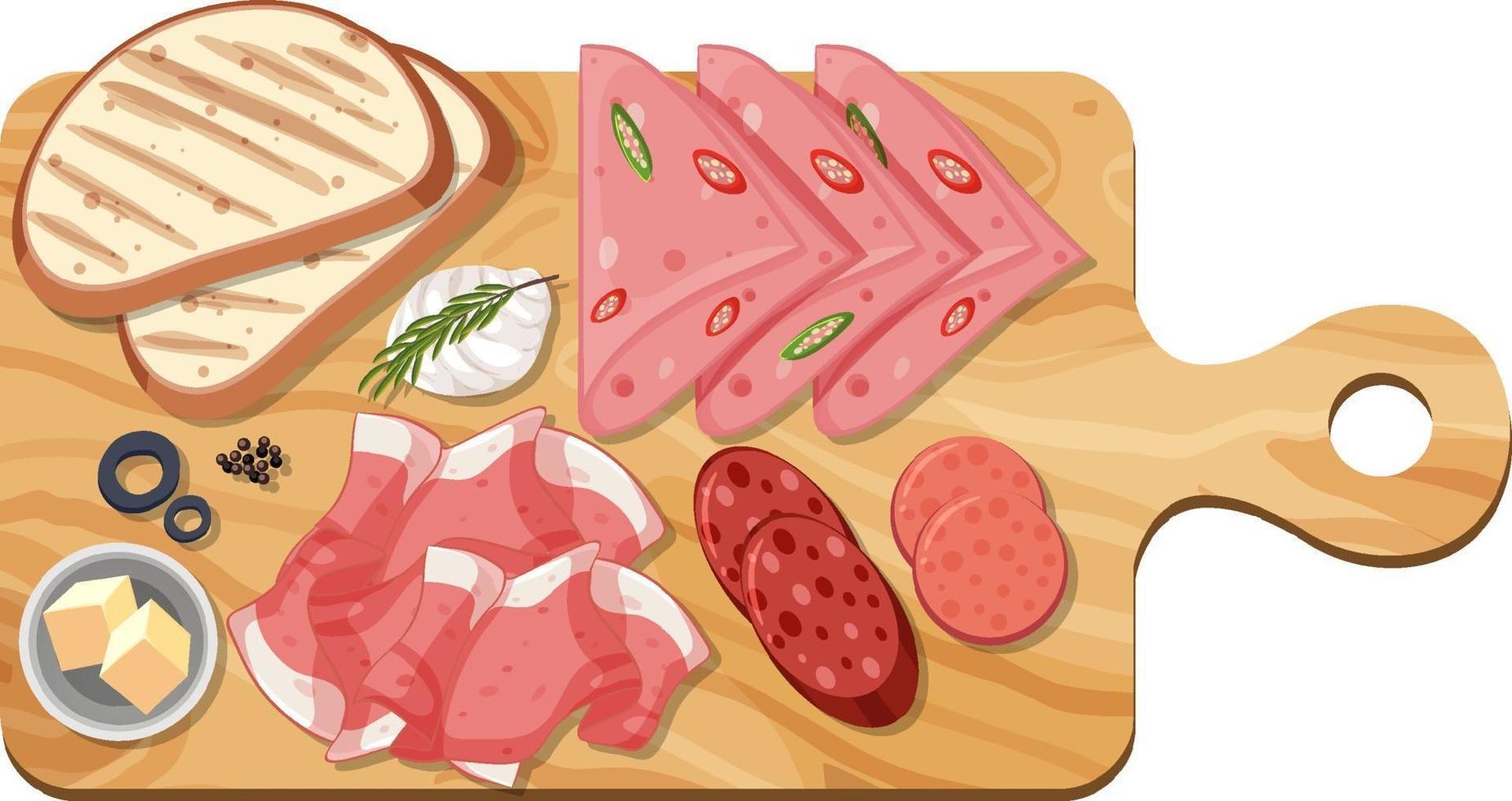 Vue de dessus de la viande en tranches sur une planche à découper isolée vecteur