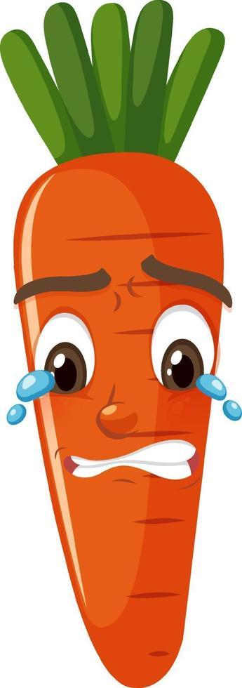 personnage de dessin animé de carotte avec expression faciale vecteur