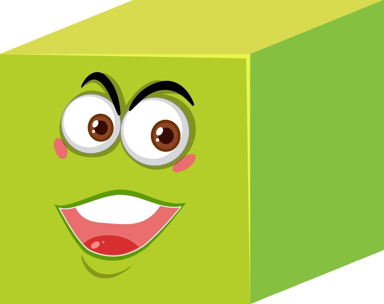 personnage de dessin animé de cube avec expression de visage sur fond blanc vecteur