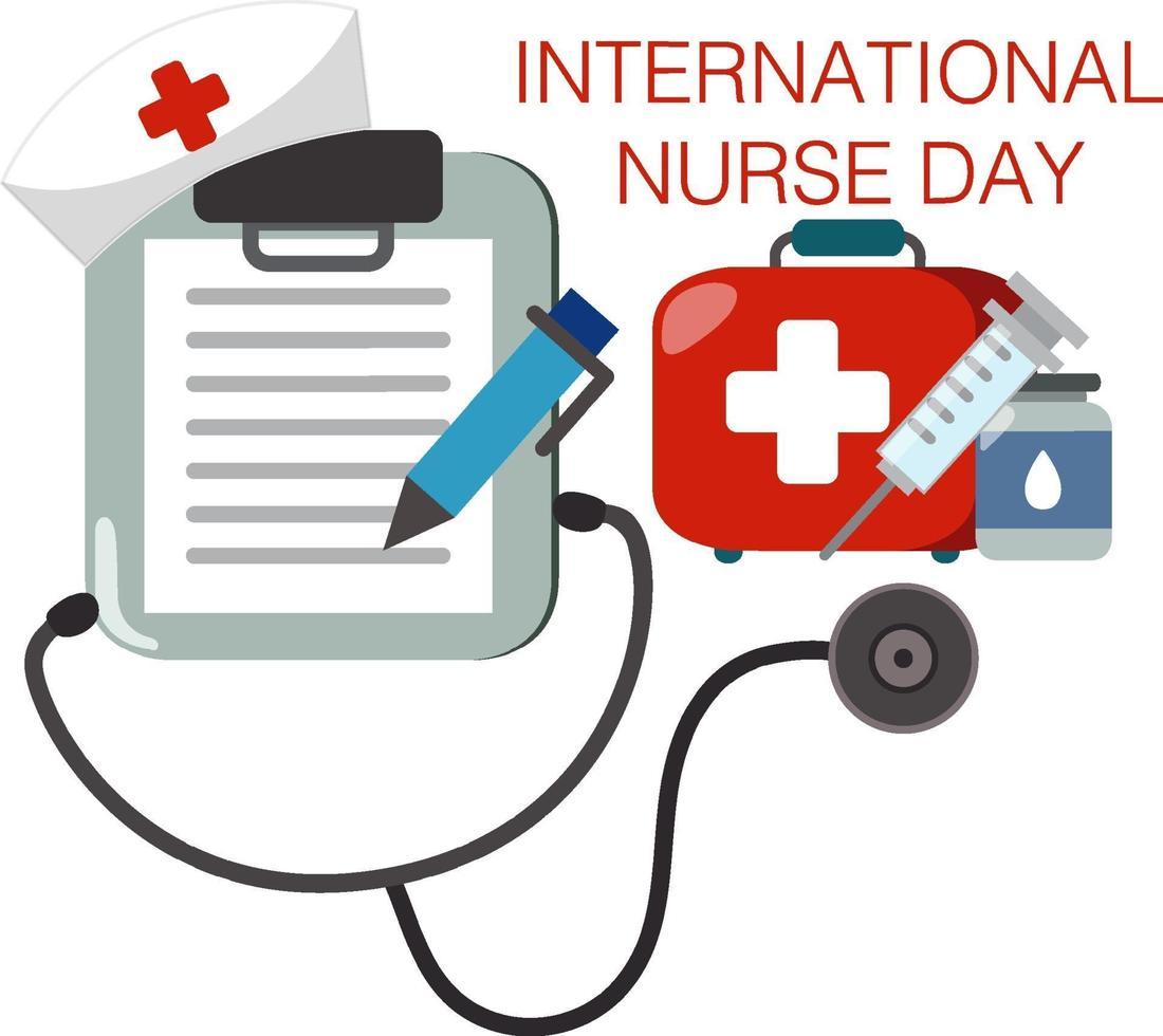 affiche de la journée internationale des infirmières avec stéthoscope sur fond blanc vecteur