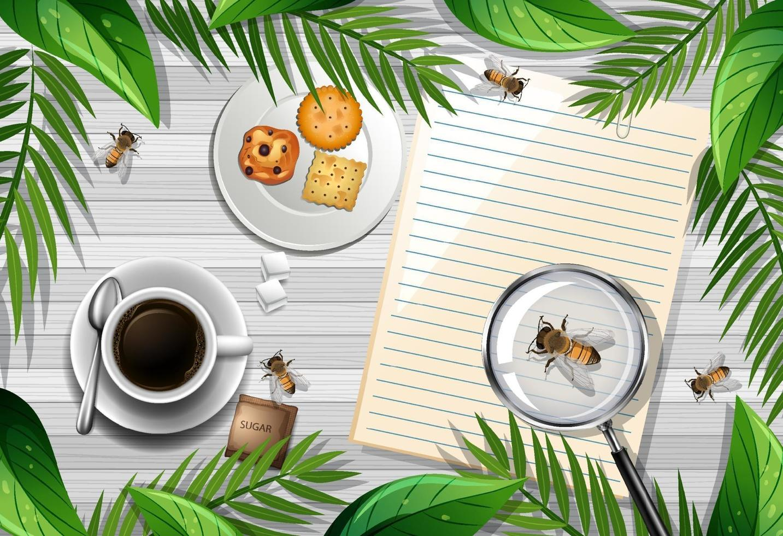 Note vide sur la table avec abeille et café vecteur