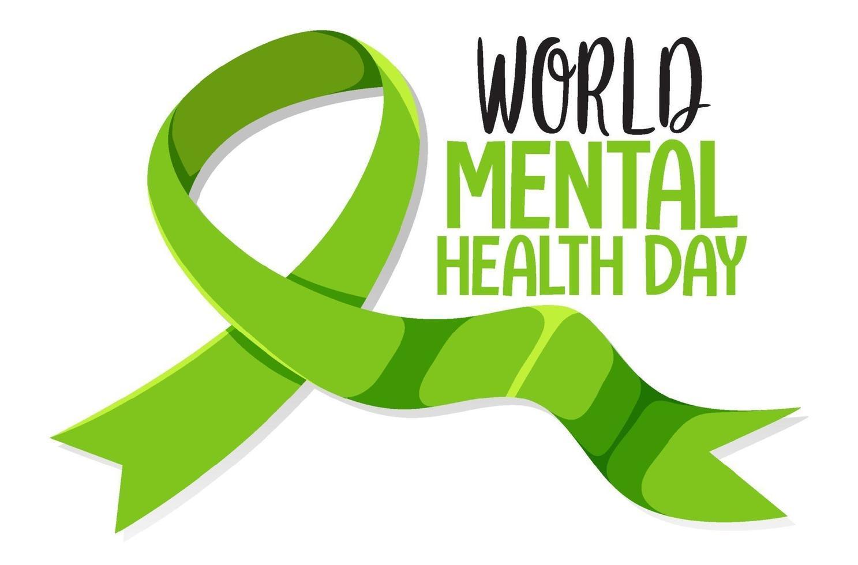 bannière de la journée mondiale de la santé mentale ou logo isolé sur fond blanc vecteur
