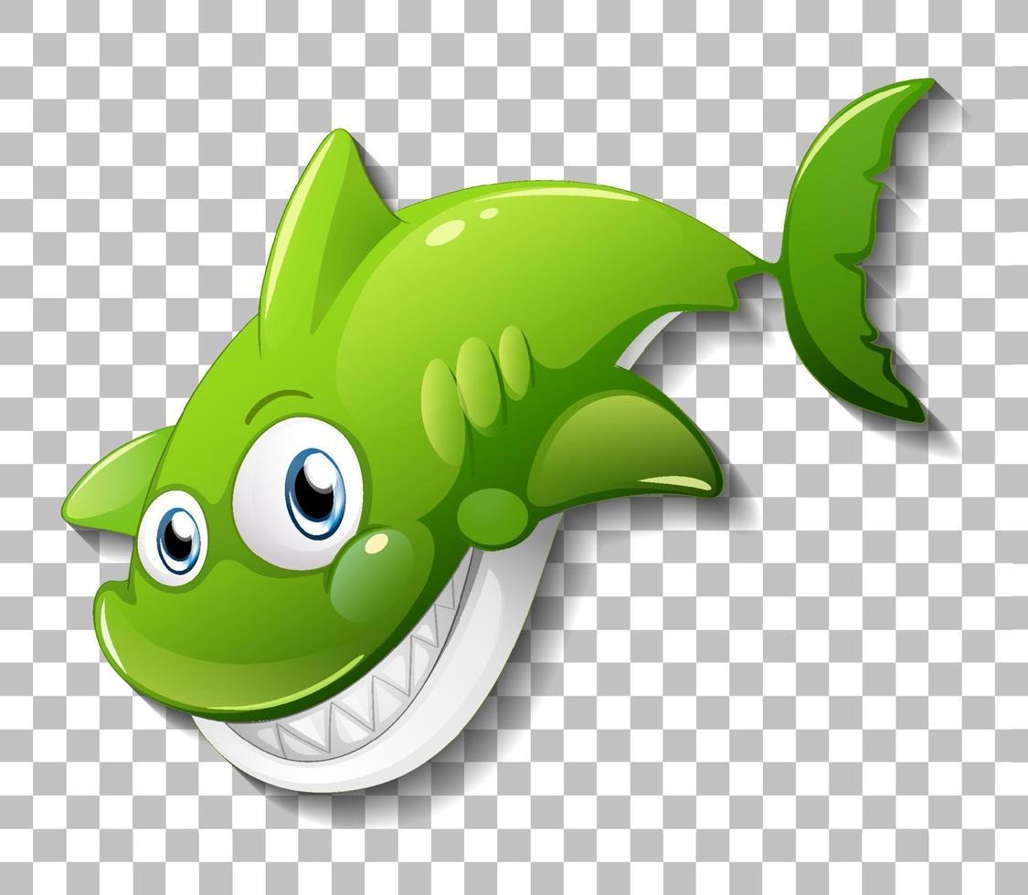 personnage de dessin animé de requin mignon souriant isolé vecteur