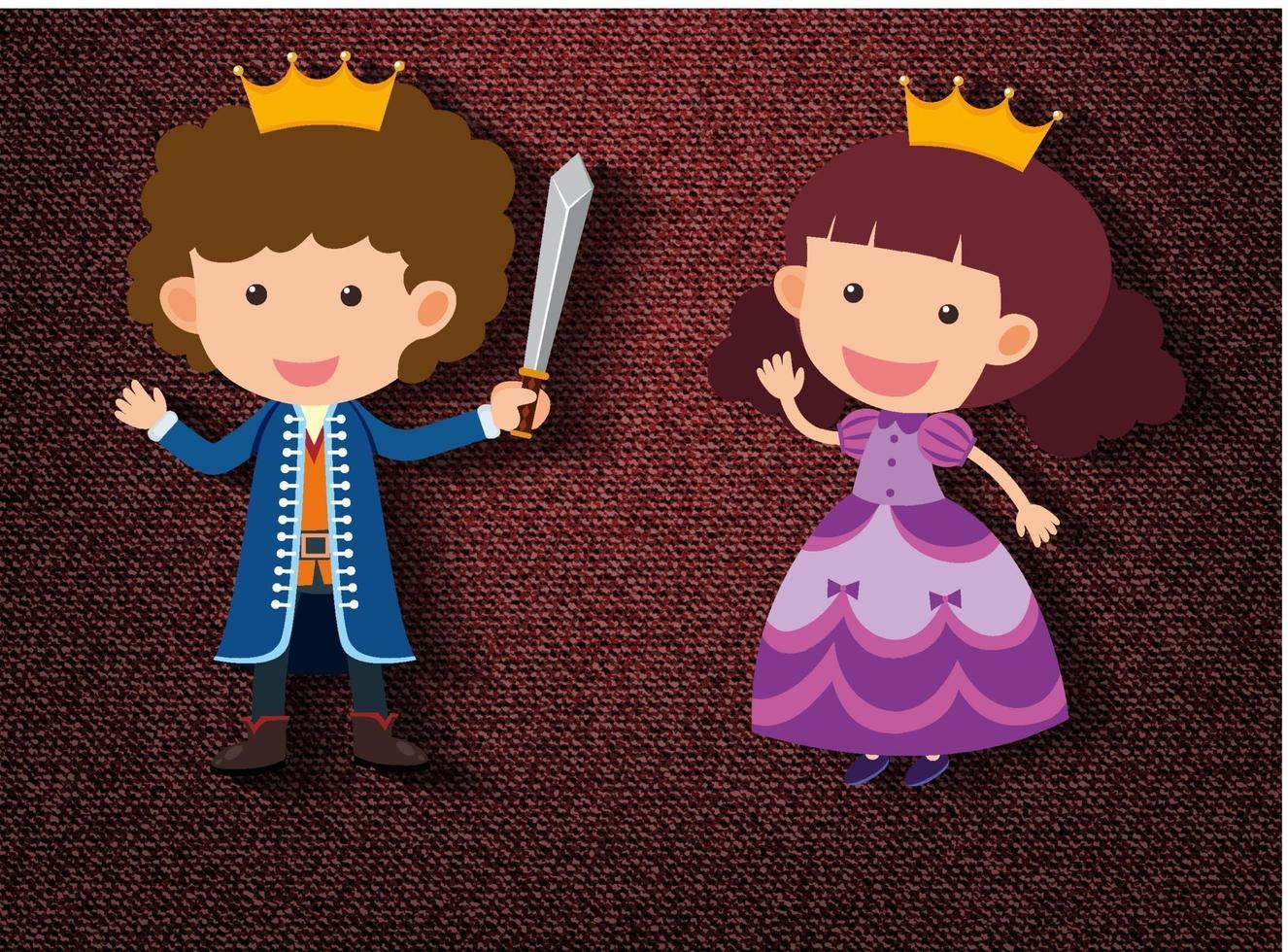 petit personnage de dessin animé chevalier et princesse sur fond rouge vecteur