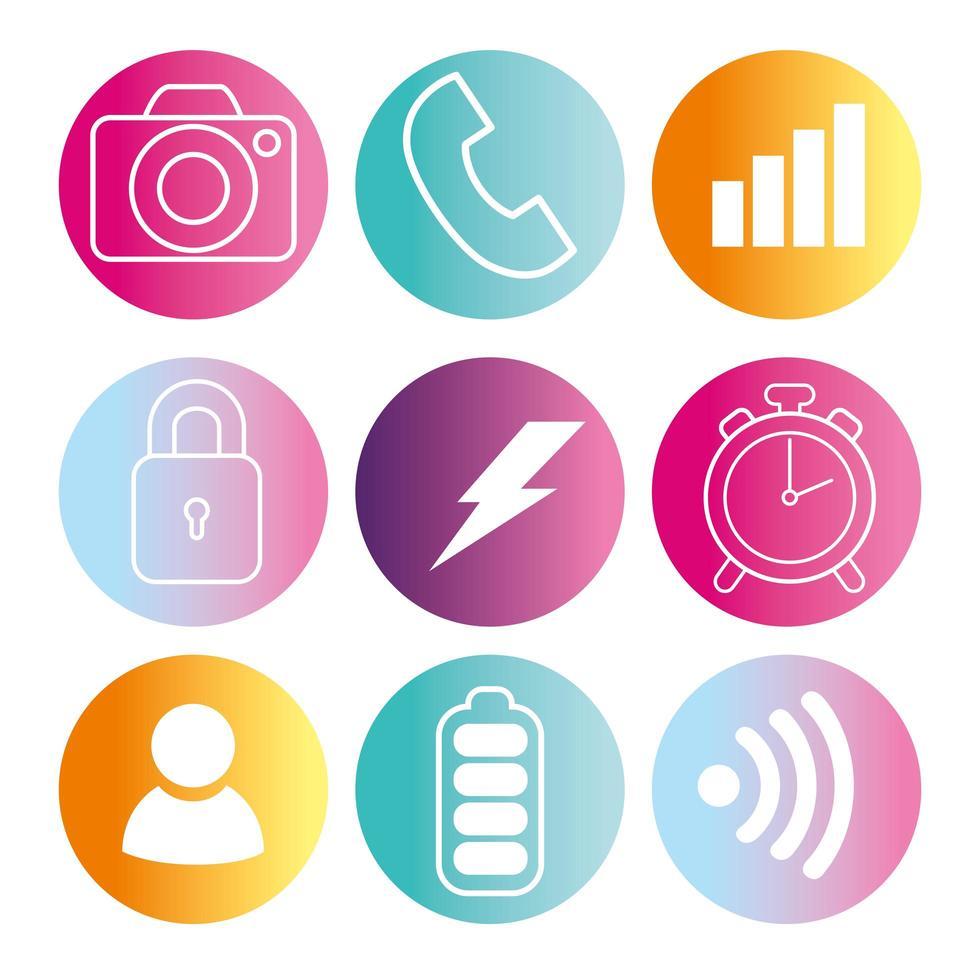 ensemble d'icônes d'application et multimédia sur cadre rond vecteur