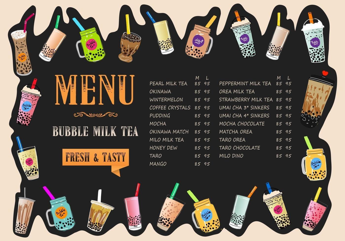 thé au lait à bulles, thé au lait perlé, différentes sortes de boba. délicieuses boissons. vecteur