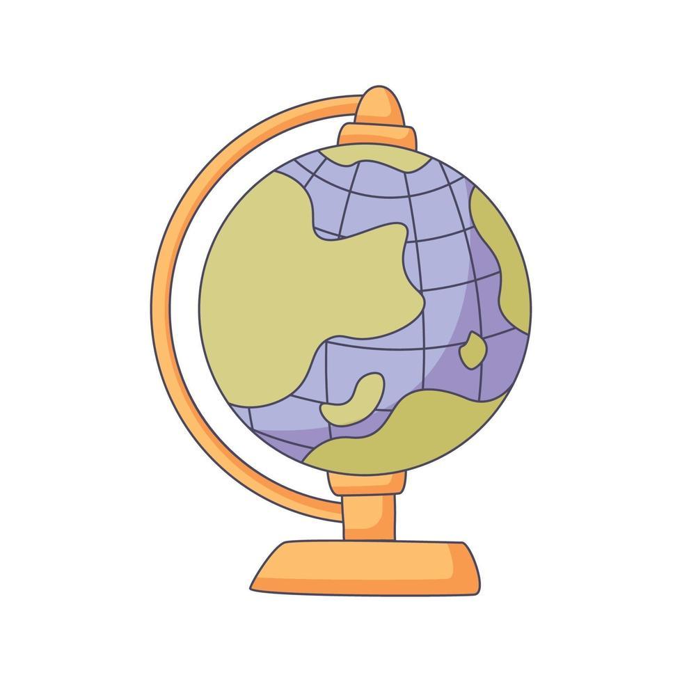 globe cartoon doodle illustration vectorielle kawaii concept dessiné à la main vecteur