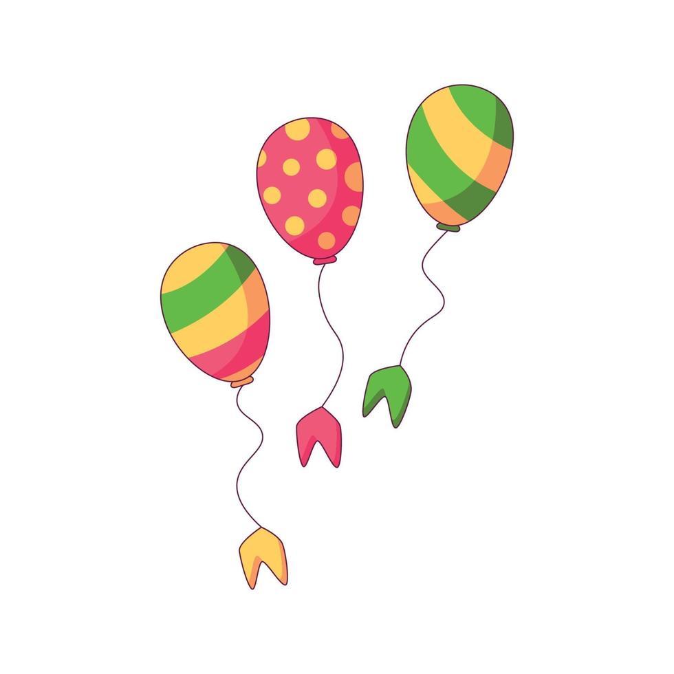 ballon birtday cartoon doodle illustration vectorielle de concept dessiné à la main vecteur