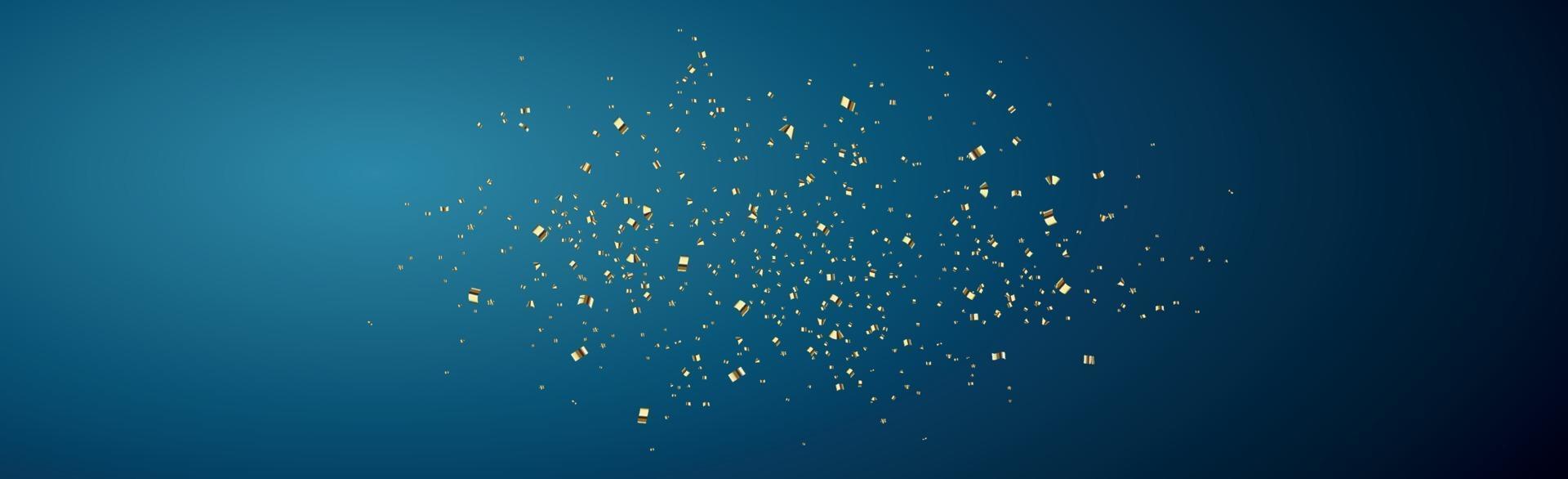 confettis dorés brillants sur fond bleu foncé - illustration vectorielle vecteur