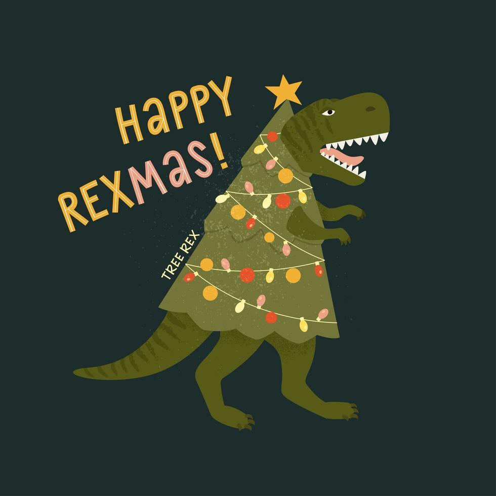 carte de rex arbre de Noël tyrannosaure dinosaure en bonnet de noel décore les lumières de guirlande de sapin de Noël. illustration vectorielle de personnage drôle dans un style plat de dessin animé. vecteur