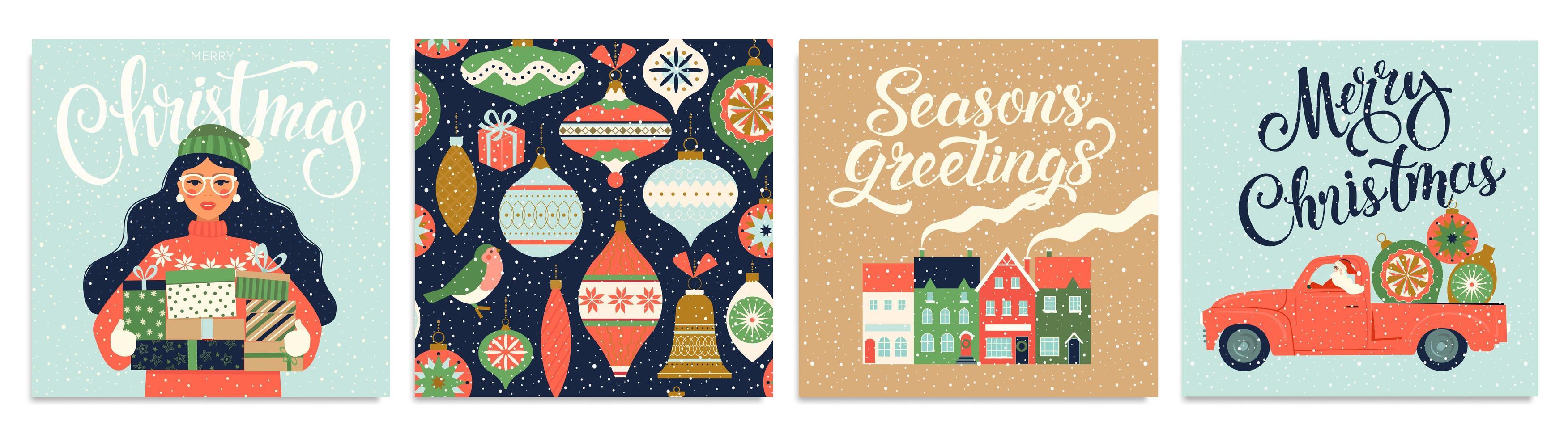modèle de Noël et nouvel an pour scrapbooking de voeux, félicitations, invitations, étiquettes, autocollants, cartes postales. ensemble d'affiches de Noël. vecteur