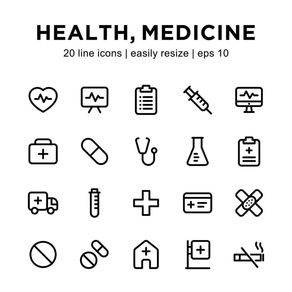 ensemble d & # 39; icônes de ligne de médicaments ou de santé vecteur