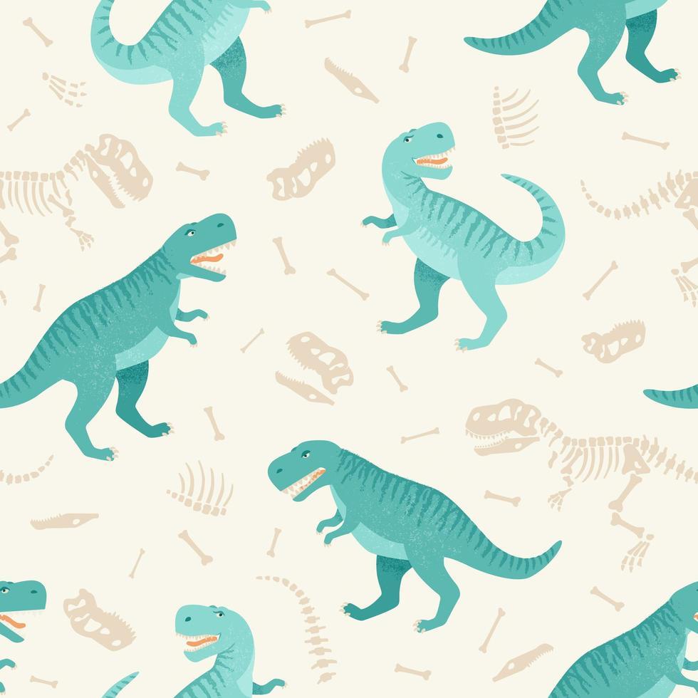 modèle grunge sans couture de squelette de dinosaure. design original avec t-rex, dinosaure. impression pour t-shirts, textiles, papier d'emballage, web. vecteur