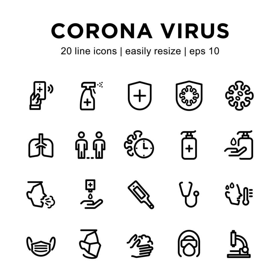 jeu d'icônes de virus corona vecteur