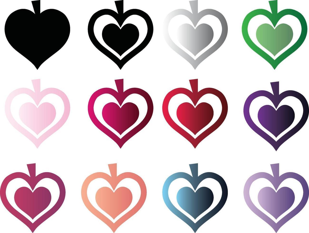 formes de coeur de pomme vecteur